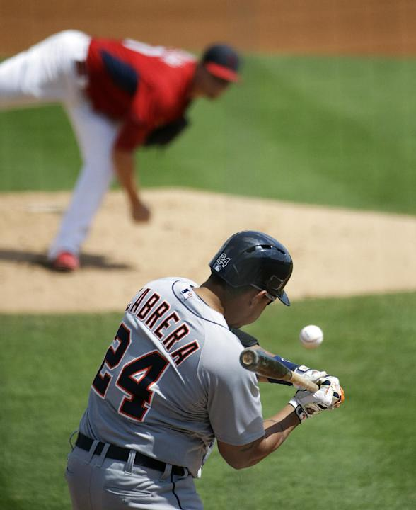Detroit Tigers' Miguel Cabrera swings to hit a single against St. Louis Cardinals starting pitcher Shelby Miller in the first inning of an exhibition spring training baseball game, Monday, March 1