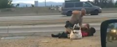 California Highway Patrol Beats Barefoot Bag Lady [VIDEO]