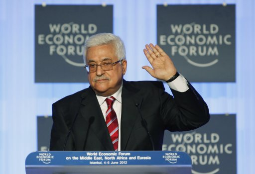 Palestinian President Mahmoud Abbas addresses the audience at the World Economic Forum on the Middle East, North Africa and Eurasia 2012 in Istanbul