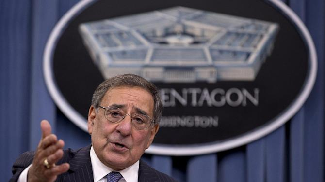 FILE - In this Oct. 25, 2012, file photo, Defense Secretary Leon Panetta speaks during a news conference with Joint Chiefs Chairman Gen. Martin Dempsey, not seen, at the Pentagon, in Washington. President Barack Obama and Congress have just a few weeks to figure out how to avert the automatic cuts to defense and domestic programs totaling $110 billion next year. Those reductions are part of the so-called fiscal cliff of expiring Bush-era tax cuts and the across-the-board cuts that Defense Secretary Leon Panetta has warned would be devastating to the military. (AP Photo/Carolyn Kaster, File)