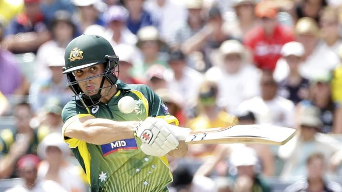 Australia's Mitchell Marsh pulls against England during their One Day International tri-series cricket final match at the WACA ground