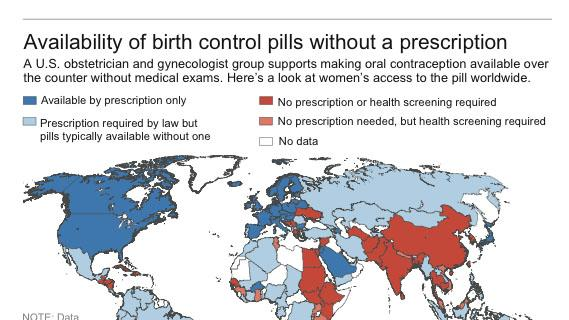World map shows availability of birth control pill by country