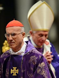 Cardinal Tarcisio Bertone passes Pope Benedict XVI during the mass for Ash Wednesday on February 13, 2013 at St Peter&#39;s Basilica in the Vatican. Bookmakers rank Bertone at number three contender for new pope -- an improbable choice according to experts who say his role as Secretary of State under Benedict XVI proved hugely divisive in the Church