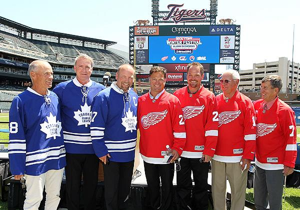 Former players for the Toronto Maple Leafs and Detroit Red Wings promote the 2013 Winter Classic