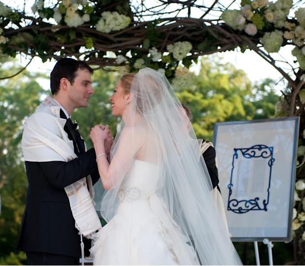 Chelsea Clinton and Marc Mezvinsky at their interfaith ceremony in Rhinebeck, NY