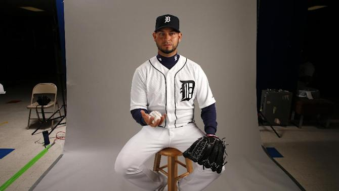 This is a 2015 photo of Anibal Sanchez of the Detroit Tigers baseball team. This image reflects the Tigers active roster as of Feb. 28, 2015 when this image was taken at spring training in Lakeland, Fla. (AP Photo/Gene J. Puskar)