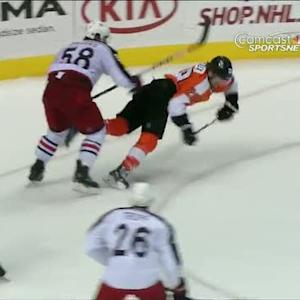 Claude Giroux scores backhander while falling