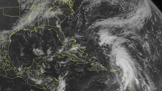 This NOAA satellite image taken Sunday, October 14, 2012 at 10:45 AM EDT shows Tropical Storm Rafael north of the Lesser Antilles. Rafael has maximum winds of 60 mph and is moving northward towards Bermuda and is expected to strengthen into a Hurricane over the next 48 hours. (AP PHOTO/WEATHER UNDERGROUND)