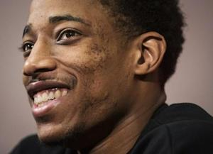 NBA basketball player DeRozan walks speaks at the Raptors season-end media availability in Toronto