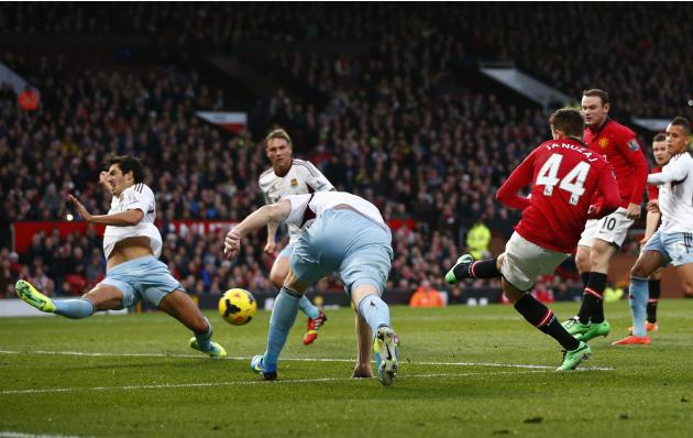 Manchester United's Januzaj scores against West Ham during their English Premier League soccer match in Manchester