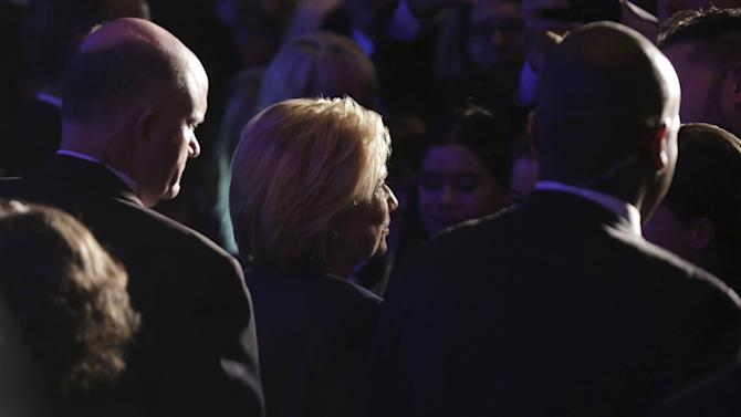 """Democratic presidential candidate Clinton is flanked by Secret Service agents as she greets supporters during a """"Women for Hillary"""" endorsement event and fundraiser"""