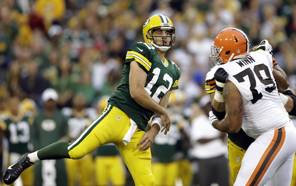 Green Bay Packers quarterback Aaron Rodgers throws during the first half of a preseason NFL football game against the Cleveland Browns Thursday, Aug. 16, 2012, in Green Bay, Wis. (AP Photo/Jeffrey Phelps)