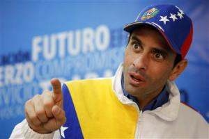 Venezuela's opposition leader Henrique Capriles speaks during an interview with Reuters in Caracas