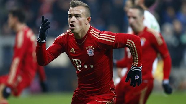 Bayern Munich&#39;s Xerdan Shaqiri celebrates after scoring a goal during their German Bundesliga first division match against Borussia Monchengladbach in Munich