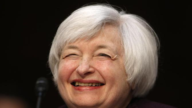 Federal Reserve Chair Janet Yellen smiles as she testifies about the economy before the Joint Economic Committee of Congress on Capitol Hill in Washington, Wednesday, May 7, 2014.(AP Photo/Charles Dharapak)
