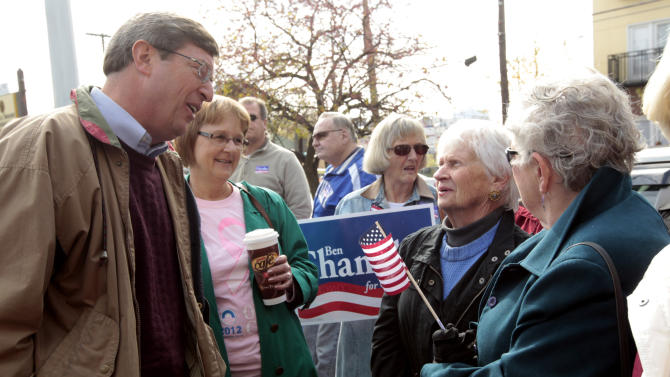 U.S. Rep. Ben Chandler, D-Versailles, left, met with supporters, from left, Jeri White, Sharon Damron, Jackie Betts and Betty Gabhart, members of The Women's Network at Fayette County Democratic headquarters in Lexington, Ky., on Monday Nov. 5, 2012.  Chandler is being challenged for Kentucky's 6th District by Republican Andy Barr in Tuesday's election.   (AP Photo/The Lexington Herald-Leader,Pablo Alcala)