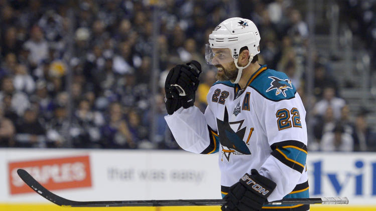 San Jose Sharks defenseman Dan Boyle celebrates his goal against the Los Angeles Kings during the third period in Game 7 of the Western Conference semifinals in the NHL hockey Stanley Cup playoffs, Tuesday, May 28, 2013, in Los Angeles.  (AP Photo/Mark J. Terrill)