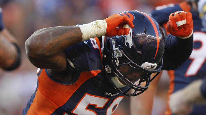 Denver Broncos outside linebacker Von Miller (58) reacts after sacking San Diego Chargers quarterback Philip Rivers (17) in the second quarter of an NFL football game, Sunday, Nov. 18, 2012, in Denver. (AP Photo/David Zalubowski)