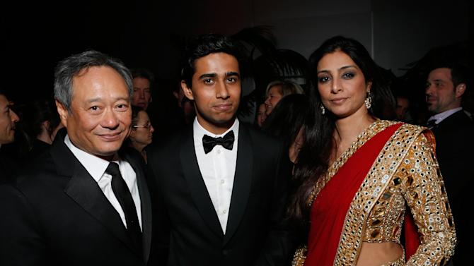 From left, director Ang Lee, actors Suraj Sharma and Tabu attend the Fox Golden Globes Party on Sunday, January 13, 2013, in Beverly Hills, Calif. (Photo by Todd Williamson/Invision for Fox Searchlight/AP Images)