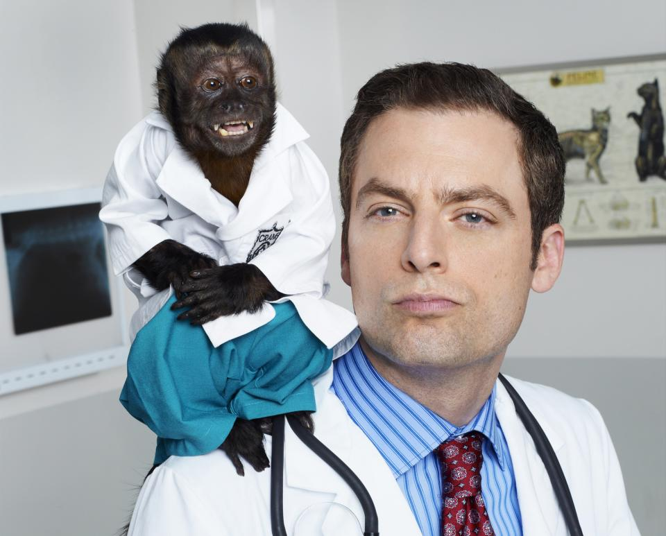 "This image released by NBC shows Justin Kirk as Dr. George Coleman from the NBC comedy ""Animal Practice."" The series, which premiered last fall, was canceled by the network. (AP Photo/NBC, Chris Haston)"