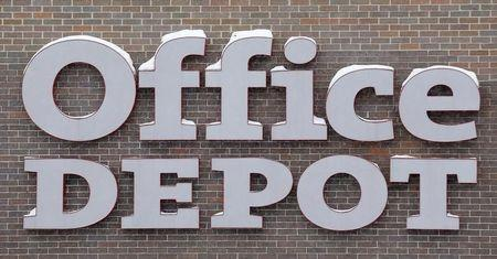 The sign of an Office Depot supplies store is seen in the Chicago suburb of Evanston