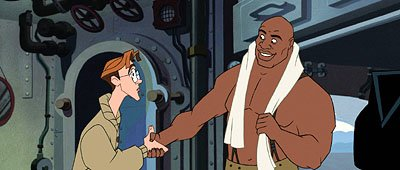 Cartographer Milo Thatch (left) meets Dr. Sweet (right) in Disney's Atlantis: The Lost Empire