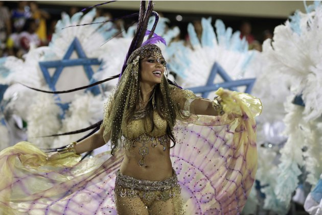 A reveller from the Grande Rio samba school takes part in the second night of the annual Carnival parade in Rio de Janeiro's Sambadrome