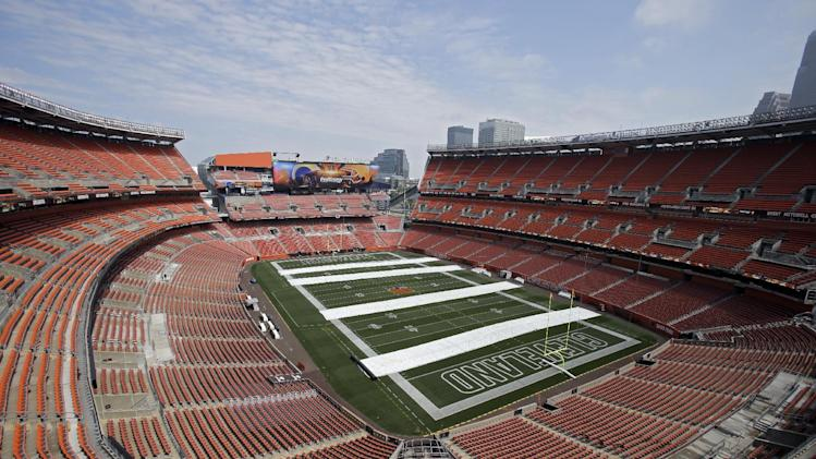 One of two new video boards is shown in the east end zone at FirstEnergy Stadium in Cleveland Friday, Aug. 22, 2014. The first phase of a multi-million dollar makeover for the home of the NFL Cleveland Browns is being completed in time for the first home preseason game Saturday against the St. Louis Rams