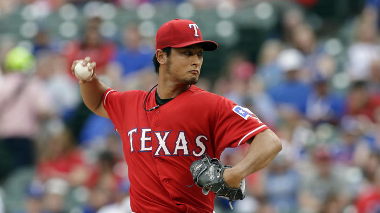 Darvish loses no-no in 9th, Texas tops Red Sox 8-0