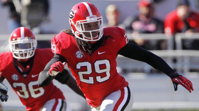 FILE - In this Nov. 17, 2012, file photo, Georgia linebacker Jarvis Jones (29) follows the action during an  NCAA college football game against Georgia Southern in Athens, Ga. Jarvis was selected to the first-team on The Associated Press All-America football team released Tuesday, Dec. 11, 2012.(AP Photo/John Bazemore, File)