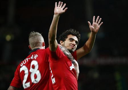 Manchester United's Da Silva celebrates his goal against Norwich City during their English League Cup fourth round soccer match in Manchester