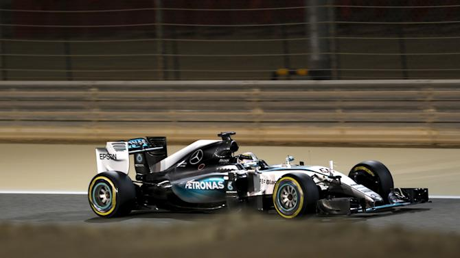 Mercedes Formula One Driver Hamilton of Britain drives during the qualifying session of Bahrain's F1 Grand Prix