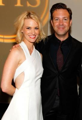January Jones and Jason Sudeikis seen backstage at the 2010 ESPY Awards at Nokia Theatre L.A. Live in Los Angeles, California on July 14, 2010 -- WireImage