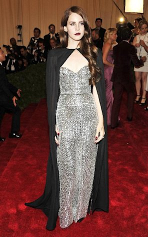 Lana Del Rey arrives at the Metropolitan Museum of Art Costume Institute gala benefit, celebrating Elsa Schiaparelli and Miuccia Prada, Monday, May 7, 2012 in New York. (AP Photo/Charles Sykes)