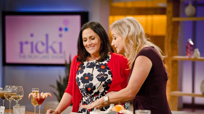 """This Thurs., July 26, 2012 photo released by 20th Television shows host Ricki Lake, left, and physician nutrition specialist, Dr. Melina Jampolis, during the second day of taping for her new daytime talk show, """"The Ricki Lake Show."""" The TV show debuts Monday, Sept. 10, 2012, bringing the talk show host back to daytime TV. (AP Photo/20th Television, Barry J. Holmes)"""