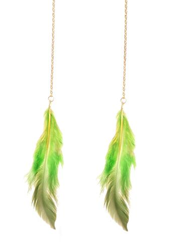 D.I.F.F.Y., Green Feather Earrings, $20