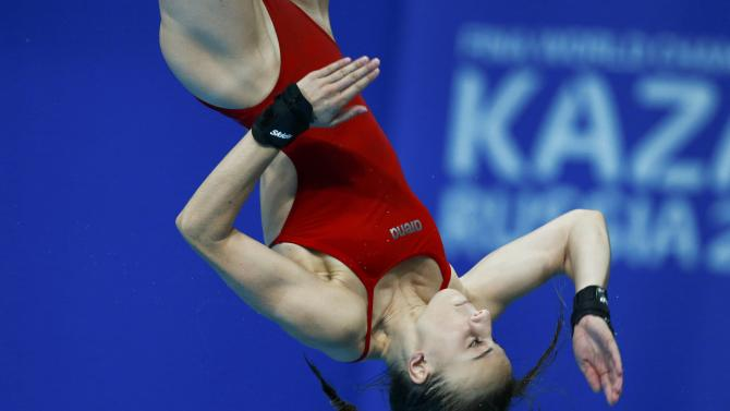 Marino of France jumps during the women's 10m platform final at the Aquatics World Championships in Kazan