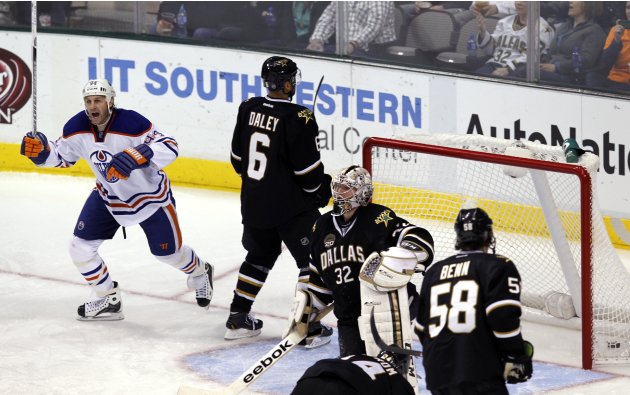 Edmonton Oilers Ryan Smyth celebrates the goal by Ales Hemsky during their NHL hockey game in Dallas