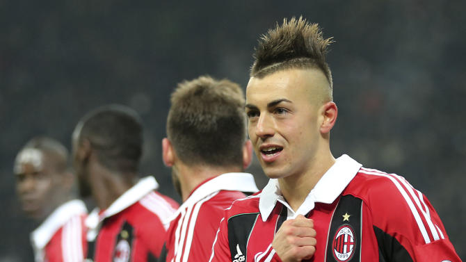 AC Milan forward Stephan El Shaarawy celebrates after scoring during the Serie A soccer match between Inter Milan and AC Milan at the San Siro stadium in Milan, Italy, Sunday, Feb. 24, 2013. (AP Photo/Antonio Calanni)