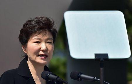 South Korean President Park delivers a speech during a ceremony marking Korean Memorial Day at the National Cemetery in Seoul