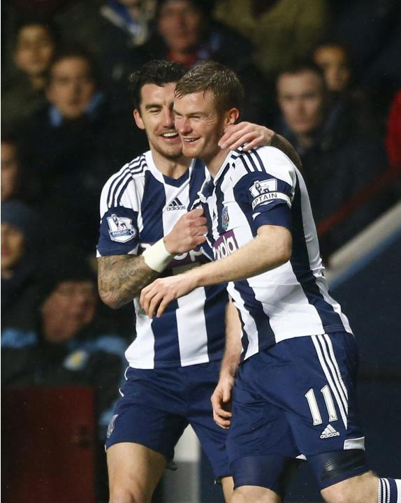 West Bromwich Albion's Brunt celebrates scoring a goal against Aston Villa with team mate Ridgewell during their English Premier League soccer match at Villa Park in Birmingham