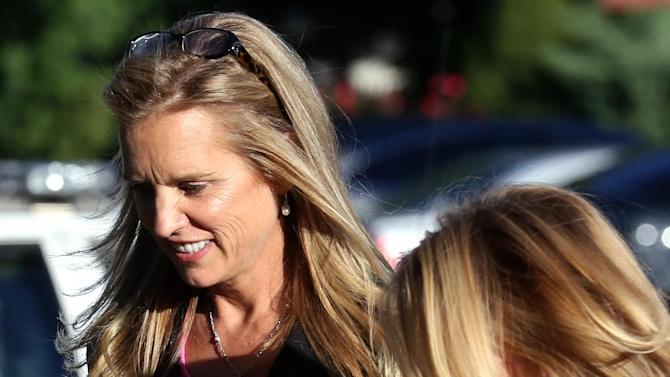 Kerry Kennedy, ex-wife of New York Gov. Andrew Cuomo, left, arrives for a court appearance at the North Castle Town Court in Armonk, N.Y. Tuesday, Sept. 11, 2012, on a charge of driving while drug-impaired. She pleaded not guilty. (AP Photo/Craig Ruttle)