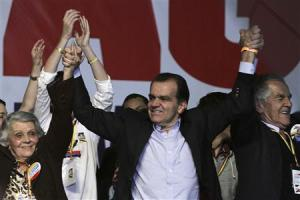 Opposition presidential candidate Oscar Ivan Zuluaga celebrates going to second round held in Bogota