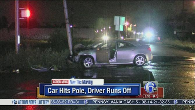 1 critical after car hits pole in Camden, driver flees