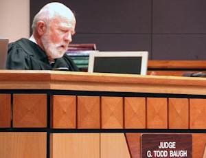 Montana District Judge G. Todd Baugh reads a statement …