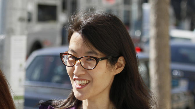 FILE - In this Feb. 24, 2015 file photo, Ellen Pao leaves the Civic Center Courthouse during a lunch break in her trial in San Francisco. The jury of six men and six women are due back in San Francisco Superior Court on Friday, March 27 in Pao's lawsuit against Kleiner Perkins Caufield & Byers. Pao says the firm discriminated against her because she was a woman and then retaliated by denying her a promotion and firing her when she complained about gender bias. Kleiner Perkins denies the allegations.  (AP Photo/Eric Risberg)