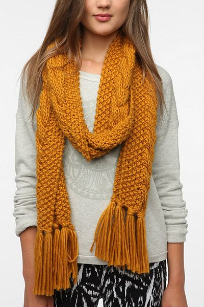 BDG cable knit scarf in gold, $24 at UrbanOutfitters.com