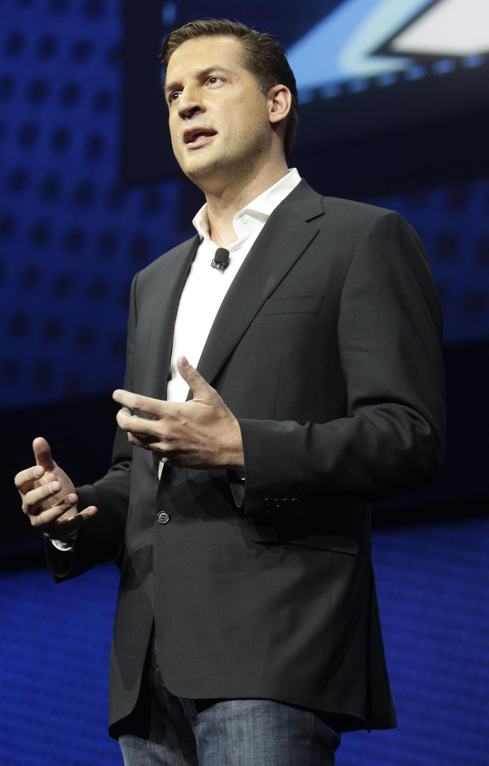 David Perry, CEO of Gaikai, speaks during a news conference to announce the Sony Playstation 4 Wednesday, Feb. 20, 2013, in New York. (AP Photo/Frank Franklin II)