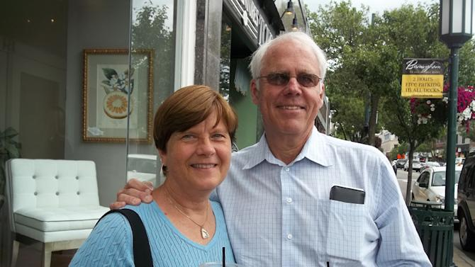 In this June 5, 2012 photo, Dave and Donna Zimmer pose for a photo in Birmingham, Mich. The Zimmers say they were surprised by U.S. Rep. Thaddeus McCotter's failure to file enough valid signatures to get on the Aug. 7, 2012, GOP primary ballot. The Bloomfield Village couple say they'll vote Republican, but they're not sure if a write-in candidate has much of a shot against someone already on the ballot. High school teacher Kerry Bentivolio, of Milford, is on the ballot; ex-Sen. Nancy Cassis, of Novi, is the consensus candidate to run a write-in campaign. (AP Photo/Kathy Barks Hoffman)