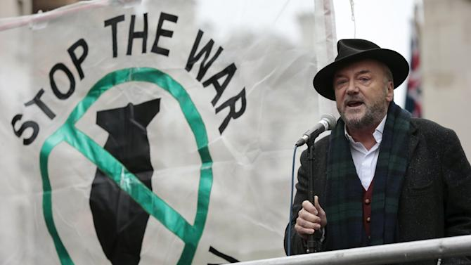 Anti-war activist and former British member of parliament George Galloway speaks at a rally against taking military action against Islamic State in Syria, outside Downing Street in London